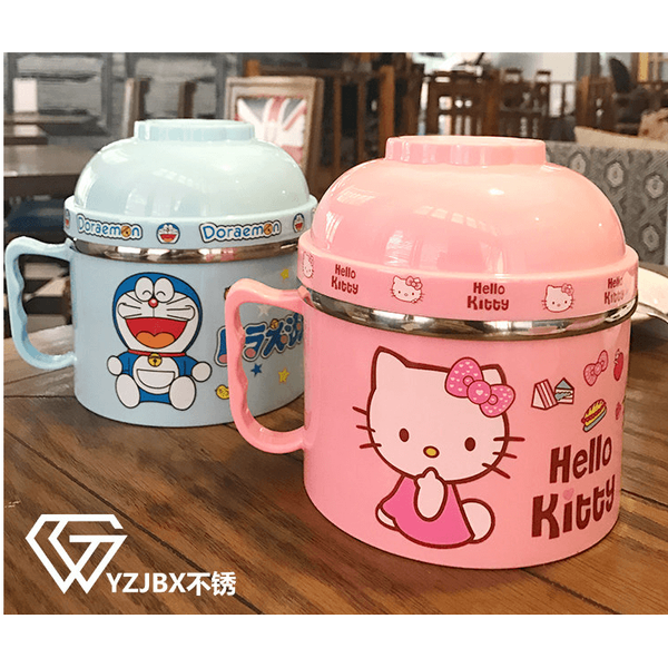 Hello Kitty/ Doraemon Portable Covered Bowl Cylinder Lunch Box-dinnerware-UAE Cute Stuff