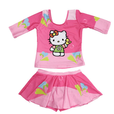 Hello Kitty Swim Suit Long Sleeves with pant inside the skirt-kid clothing-UAE Cute Stuff
