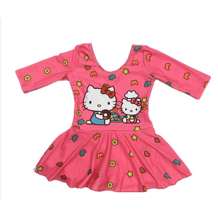Hello Kitty Swim Suit One piece Long sleeves with underskirt pant-kid clothing-UAE Cute Stuff