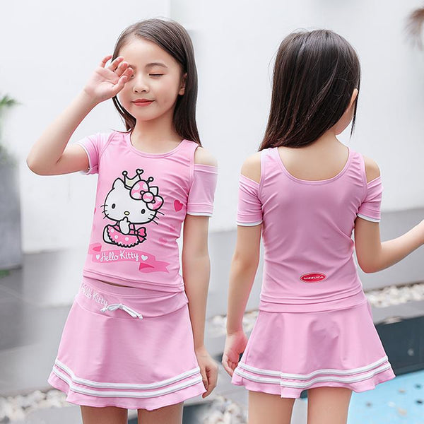 Hello Kitty Swim Suit~ two pieces with underskirt pant-kid clothing-UAE Cute Stuff