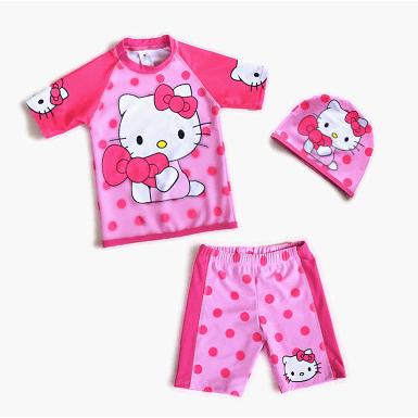 Hello Kitty Swim Suit~2 Pieces Pant with Cap-kid clothing-UAE Cute Stuff