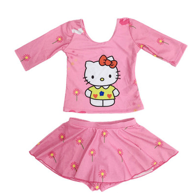 Hello Kitty Swim Suit~Long Sleeves~Pant inside Skirt-kid clothing-UAE Cute Stuff