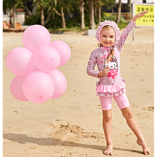 Hello Kitty Swimsuit/Bathing suit Set with cap-kid clothing-UAE Cute Stuff