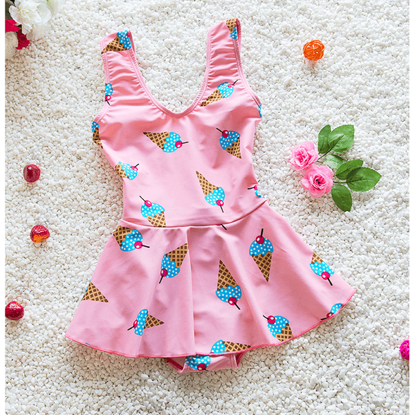 Ice Cream Girl Swimsuit One Piece swimwear-kid clothing-UAE Cute Stuff