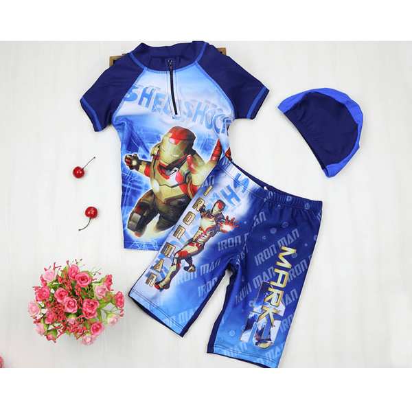 Iron Man Swim Suit~2 pieces with cap Short Sleeves-kid clothing-UAE Cute Stuff