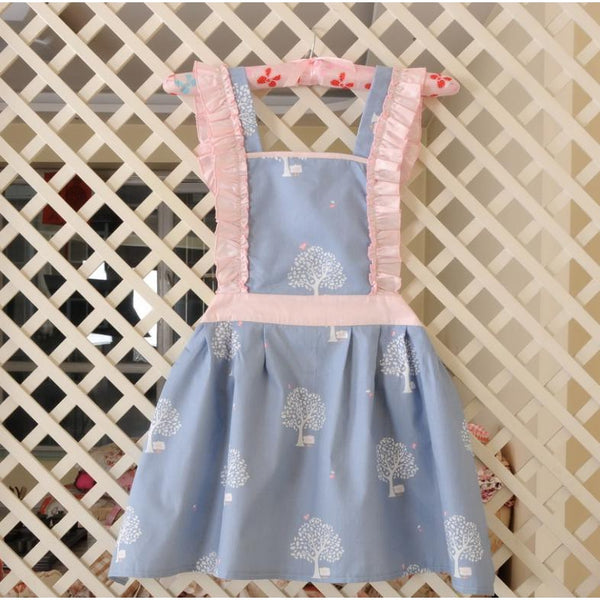 KAWAII Apron- Blue with Pink Ruffle Square Neckline-apron-UAE Cute Stuff