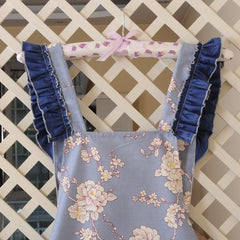 KAWAII Apron-Wide Ruffle Pocket-Blue-apron-UAE Cute Stuff