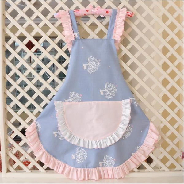 KAWAII Apron-Wide Ruffle Pocket-Blue with Pink Ruffle-apron-UAE Cute Stuff
