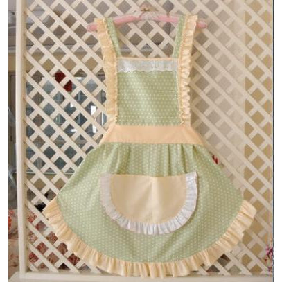 KAWAII Apron-Wide Ruffle Pocket-Green with Yellow Ruffle-apron-UAE Cute Stuff