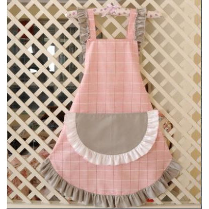 KAWAII Apron-Wide Ruffle Pocket-Pink with Grey Ruffle-apron-UAE Cute Stuff