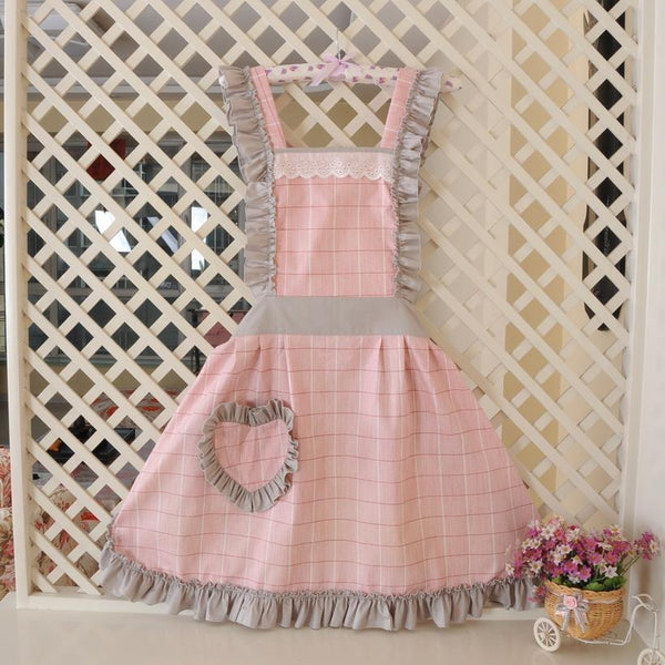 KAWAII Aprons-Heart Pocket-Pink/Blue/Yellow-apron-UAE Cute Stuff