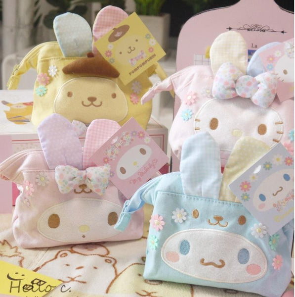 Kawaii bag with rabbit ears and tail~Hello Kitty, My Melody, Cinnamoroll and Pompompurin-pencil case-UAE Cute Stuff