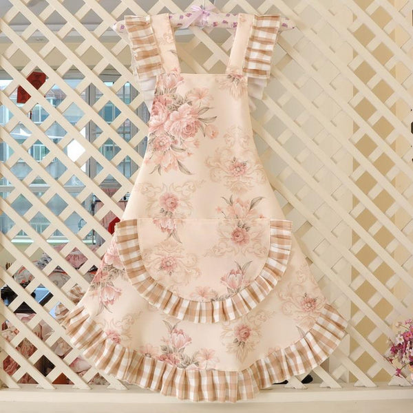 KAWAII Floral Apron Series-Beige-apron-UAE Cute Stuff