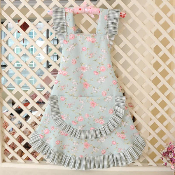 KAWAII Floral Apron Series-Blue-apron-UAE Cute Stuff