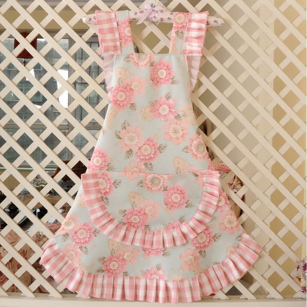 KAWAII Floral Apron Series-Cyan/Pink-apron-UAE Cute Stuff