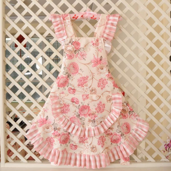 KAWAII Floral Apron Series-Floral Pink-apron-UAE Cute Stuff