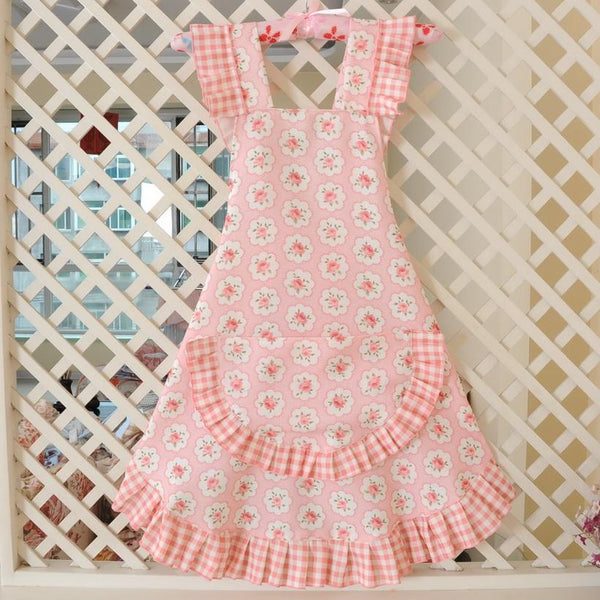 KAWAII Floral Apron Series-Light Pink-apron-UAE Cute Stuff