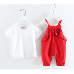 Kawaii Jump Suit Girl with short sleeve T-shirt~6 months to 4.5 years old kids for Birthday, Pageant, Party/ Flower Dress-kid clothing-UAE Cute Stuff