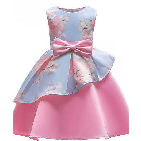 Kids Toddler Girls' Party Going out Floral Bow Print Sleeveless Cotton Dress-kid clothing-UAE Cute Stuff