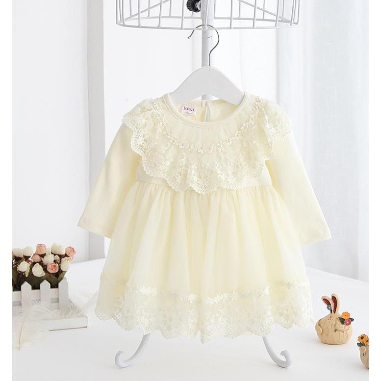 Lace Girl Dress for Summer Party-Yellow/Blush/Mint for Birthday, Pageant, Party/ Flower Dress-kid clothing-UAE Cute Stuff