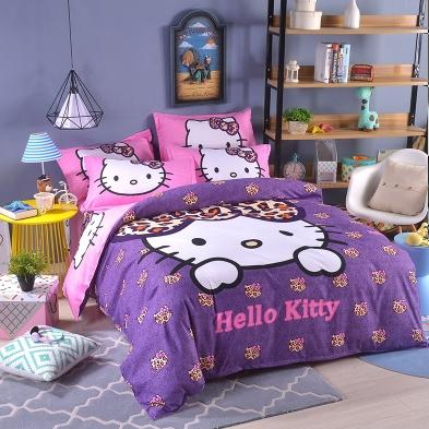 Leopard Hello Kitty Bed+Quilt+Pillow Set