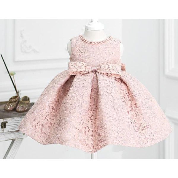 Light Pink Lace Dress for Birthday, Pageant, Party/ Flower Dress-kid clothing-UAE Cute Stuff