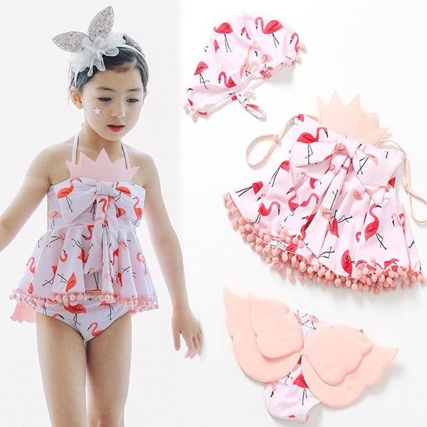 Little Flamingo with tail Swimsuit-kid clothing-UAE Cute Stuff