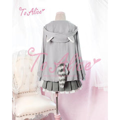 Little Raccoon Coat + Grey Band Pleated Skirt +Embroidered Shirt-everyday dress-UAE Cute Stuff