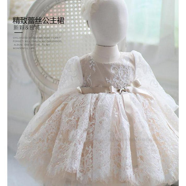 Long sleeves Lace Cute Dress for Birthday, Pageant, Party/ Flower Dress-kid clothing-UAE Cute Stuff