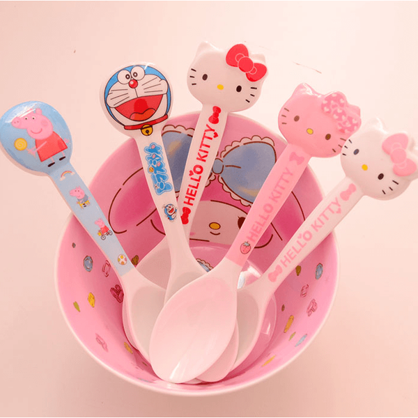 Melamine long handle spoon-Doraemon or Hello Kitty-dinnerware-UAE Cute Stuff