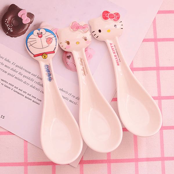Melamine Soup Spoon~Hello Kitty and Doraemon-dinnerware-UAE Cute Stuff