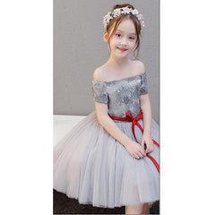 Off-shoulder Silver Dress for Birthday, Pageant, Party/ Flower Dress-kid clothing-UAE Cute Stuff