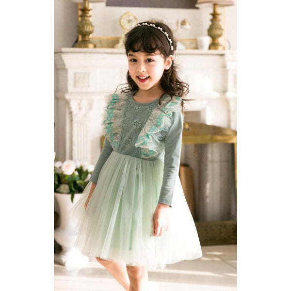 Pastel Ocean Green Dress for Birthday, Pageant, Party/ Flower Dress-kid clothing-UAE Cute Stuff
