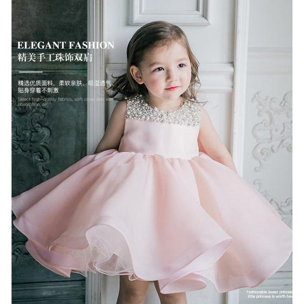 Pearl Neckline Light Pink Dress for Birthday, Pageant, Party/ Flower Dress-kid clothing-UAE Cute Stuff