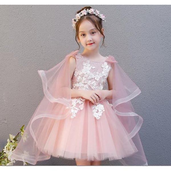 Pink Cape Girl Dress for Birthday, Pageant, Party/ Flower Dress-kid clothing-UAE Cute Stuff