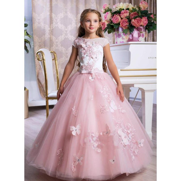 Pink Full Gown Dress with 3D Flowers Embroidery for Birthday, Pageant, Party/ Flower Dress-kid clothing-UAE Cute Stuff