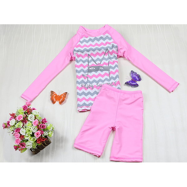 Pink Long Sleeves with Pant Two Pieces Swimsuit-kid clothing-UAE Cute Stuff