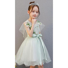 Pretty Green Dress for Birthday, Pageant, Party/ Flower Dress-kid clothing-UAE Cute Stuff