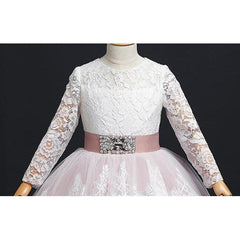 Princess Long sleeves Lace Dress for Birthday, Pageant, Party/ Flower Dress-kid clothing-UAE Cute Stuff