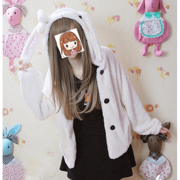 Rabbit ear cap velvet jacket-everyday dress-UAE Cute Stuff