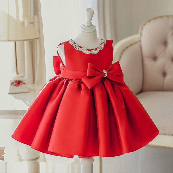 Red Elegant Dress with Diamond Neckline for Birthday, Pageant, Party/ Flower Dress-kid clothing-UAE Cute Stuff