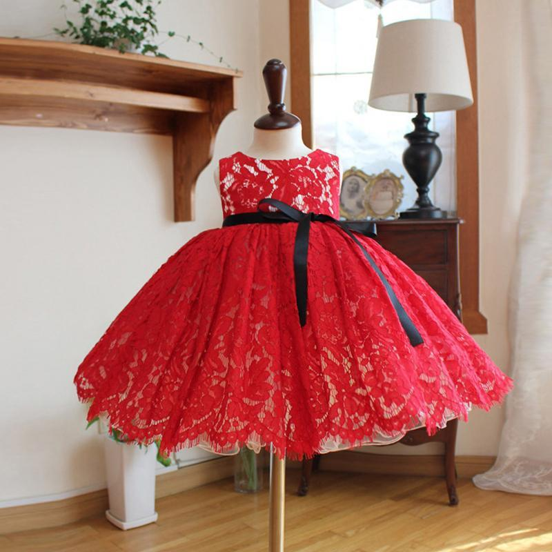 Red Lace Dress with Black Ribbon Belt for Birthday, Pageant, Party/ Flower Dress-kid clothing-UAE Cute Stuff