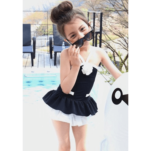 Retro Black Style Girl Bathing Suit/ Swimsuit 3-11 years old-kid clothing-UAE Cute Stuff