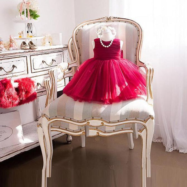 Ruby Girl Dress for Birthday, Pageant, Party/ Flower Dress-kid clothing-UAE Cute Stuff