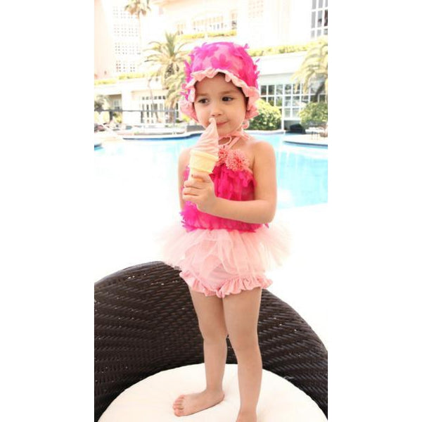 Ruffle Flower Girl Two-piece Swimsuit-kid clothing-UAE Cute Stuff