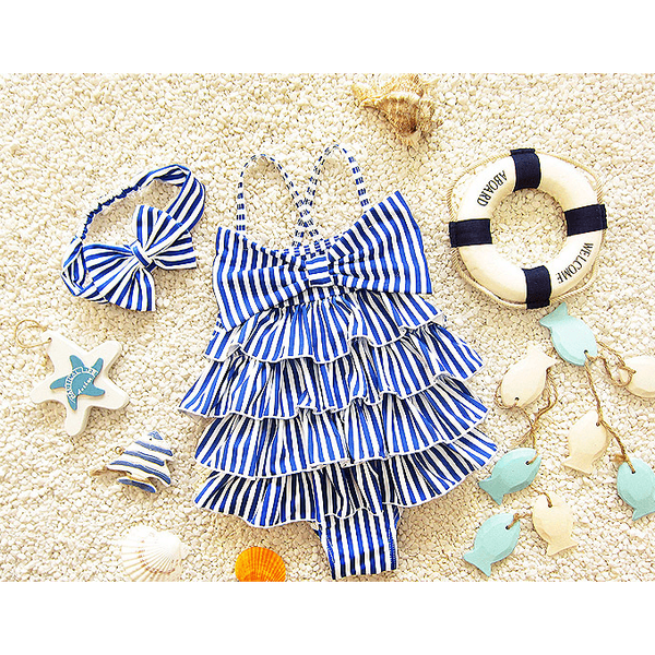 Ruffle Retro Style One-piece Swimwear-kid clothing-UAE Cute Stuff