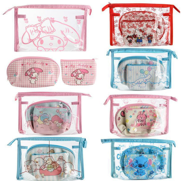 Set of cute storage bag purse three-piece set-pencil case-UAE Cute Stuff