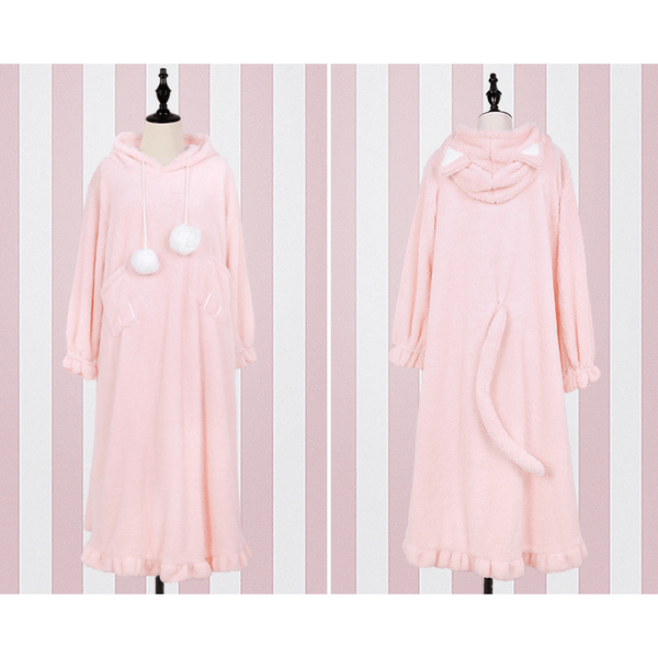 Short or Long Pyjamas with Kitty Tail?-everyday dress-UAE Cute Stuff
