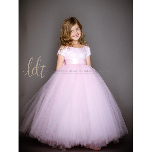 Short Sleeves Tutu Pink Full Length Dress for Birthday, Pageant, Party/ Flower Dress-kid clothing-UAE Cute Stuff