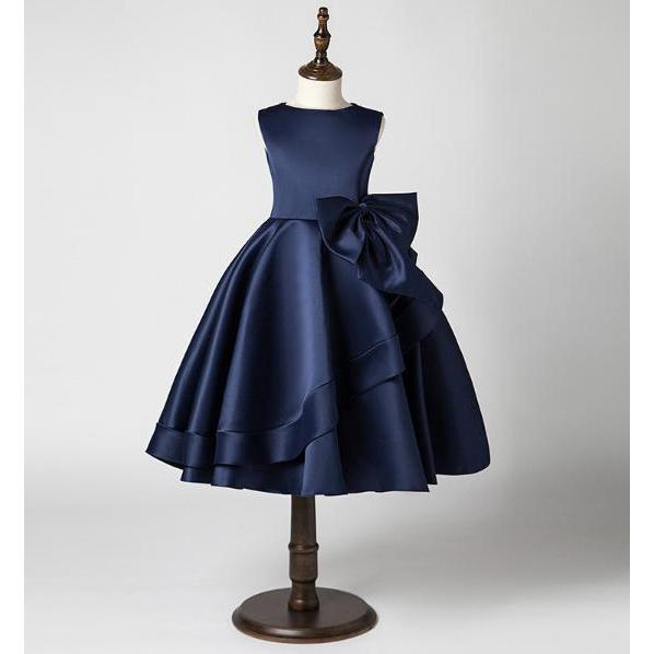 Sleek Classic Satin Dress-Navy Blue for Birthday, Pageant, Party/ Flower Dress-kid clothing-UAE Cute Stuff